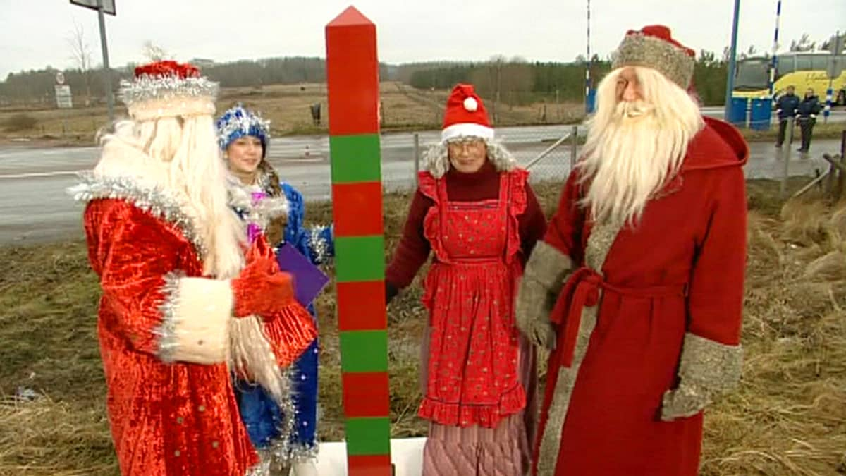 Joulupukki ja Pakkasukko tapaavat Imatran rajalla