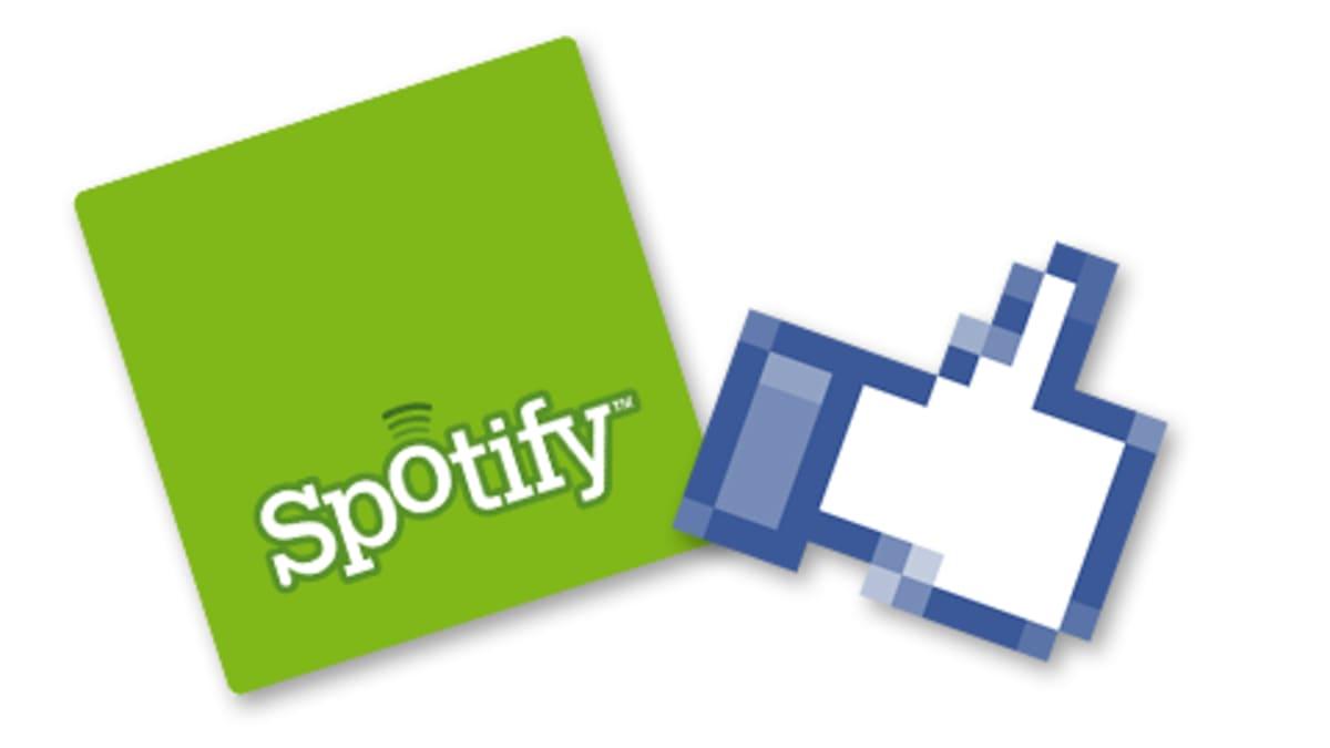 Spotifyn logo ja Facebookin like-ikoni