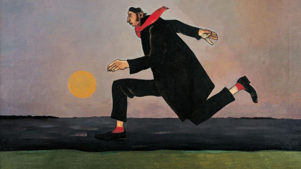 Kuva Niilo Hyttisen maalauksesta Kuuhuumaa. Mies juoksee lujaa kuun loistaessa taivaalla, vaatetus musta lukuun ottamatta kaulahuivia ja sukkia.