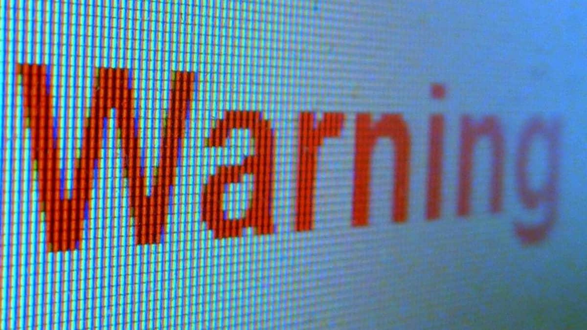 """Warning"" indicator on computer screen"