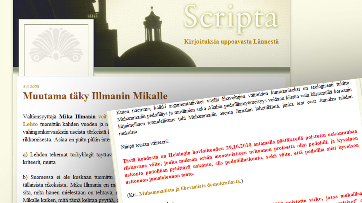 Kuvakaappaus Halla-ahon blogin kyseenalaisesta kirjoituksesta.