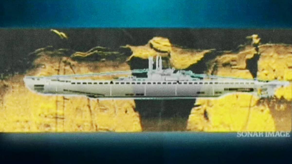 Graafinen esitys havaitusta sukellusveneestä.