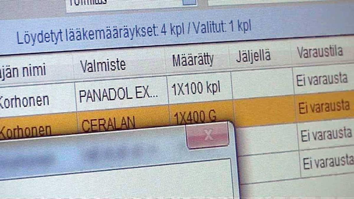 Sähköinen lääkemääräysjärjestelmä tietokoneella.