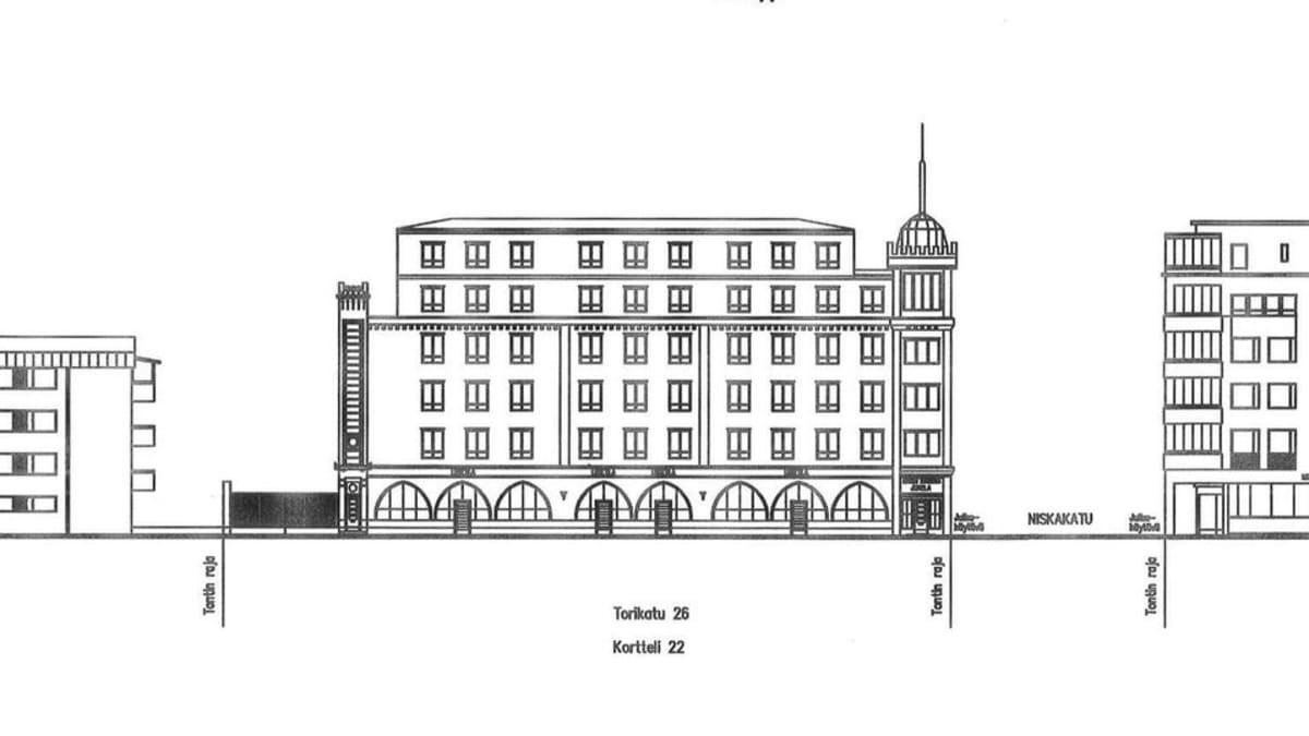 Piirros Inarinkulmalle suunnitellusta uudesta rakennuksesta.
