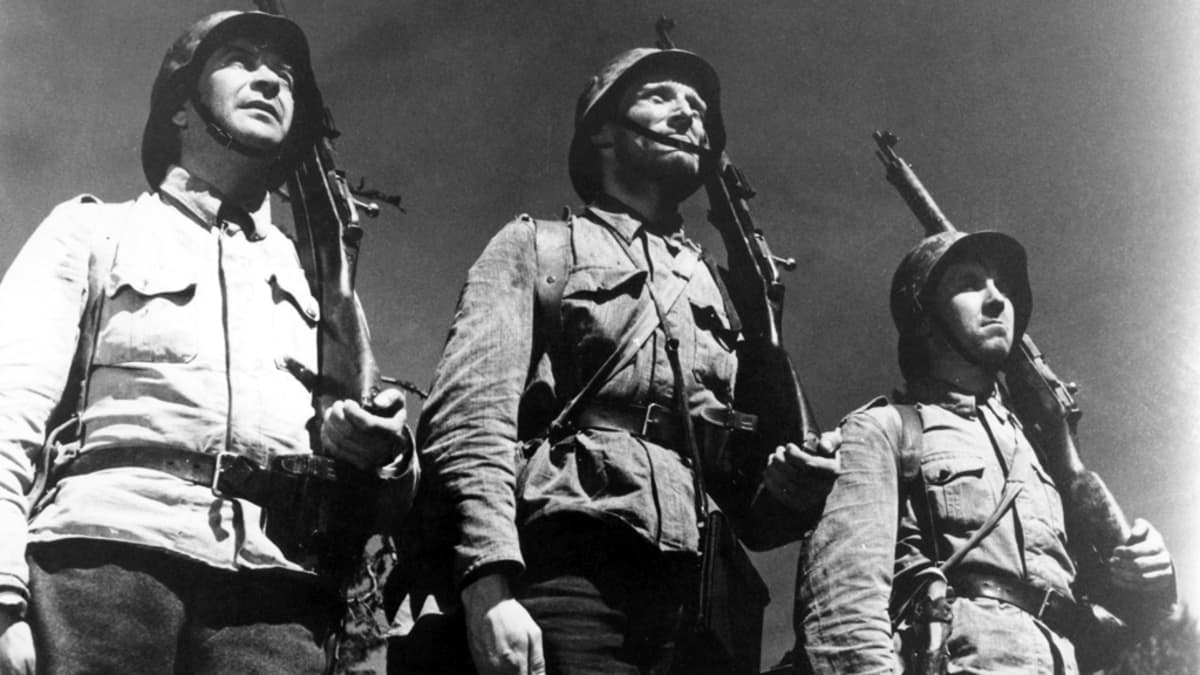 Pentti Siimes, Åke Lindman and Kaarlo Halttunen in the movie The Unknown Soldier