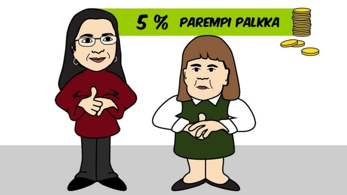 Kuvituspiirros, jossa kaksi naista.