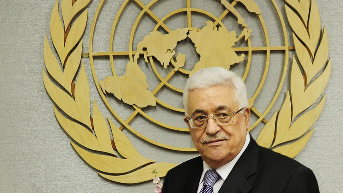 Palestiinalaisten presidentti Mahmoud Abbas Yk:n 66. yleiskokouksessa New Yorkissa 23. syyskuuta 2011.