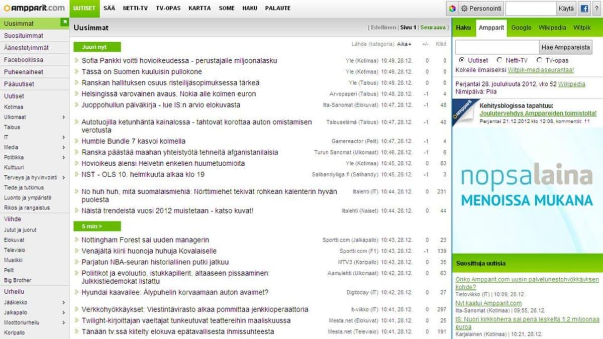Ampparit.com sivusto kaatui tunnin ajaksi palvelunestohyökkäyksen vuoksi.