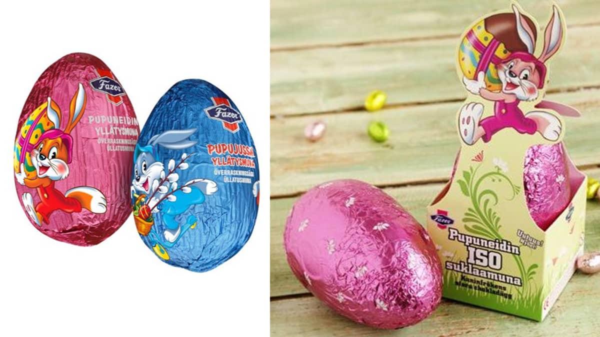 Fazerin pääsiäismunia, jotka vedetään pois myynnistä