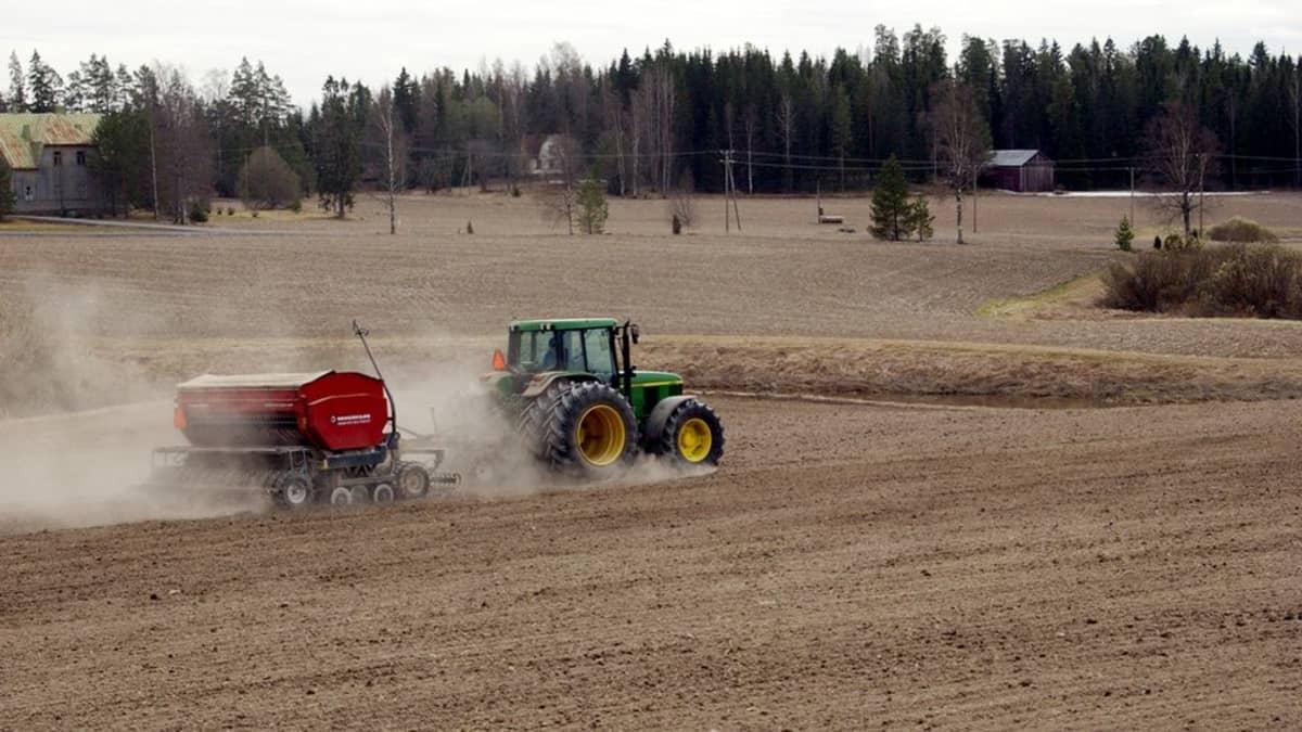 Maanviljelijä kylvää viljaa traktorilla.