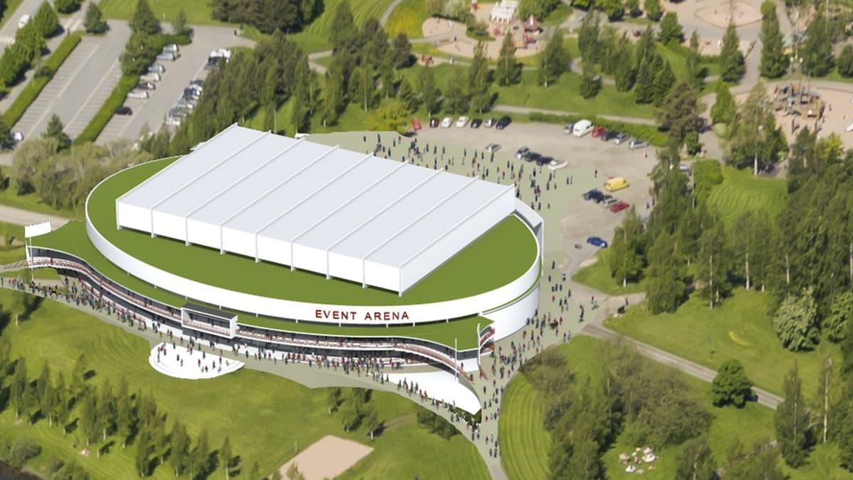 Kirjurinluotoon suunnitellun monitoimihallin Event Arenan havainnekuva - hanke kaatui.