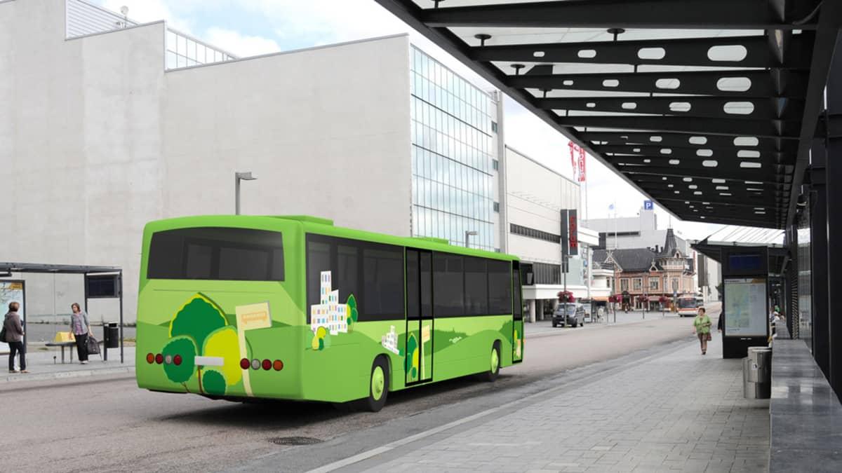 Uudet vihreät paikallisbussit ilmestyvät Jyväskylän katukuvaan heinäkuussa 2014.