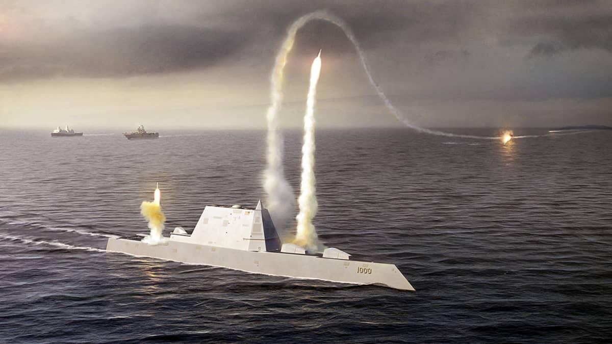 Havainnekuva Zumwalt -luokan hävittäjäaluksesta.