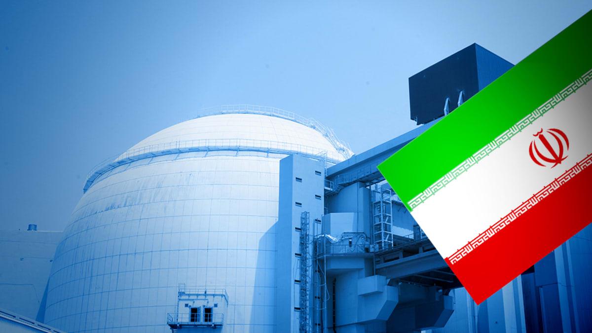 Iranin ydinvoimala ja Iranin lippu