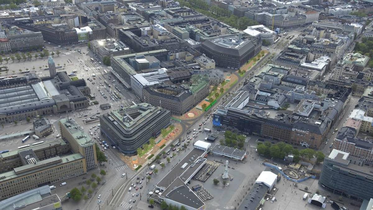 Ehdotuksessa Mannerheimintien itäpuoli Stockmannin tavaratalon edestä Postitalolle asti rauhoitetaan autoilta.
