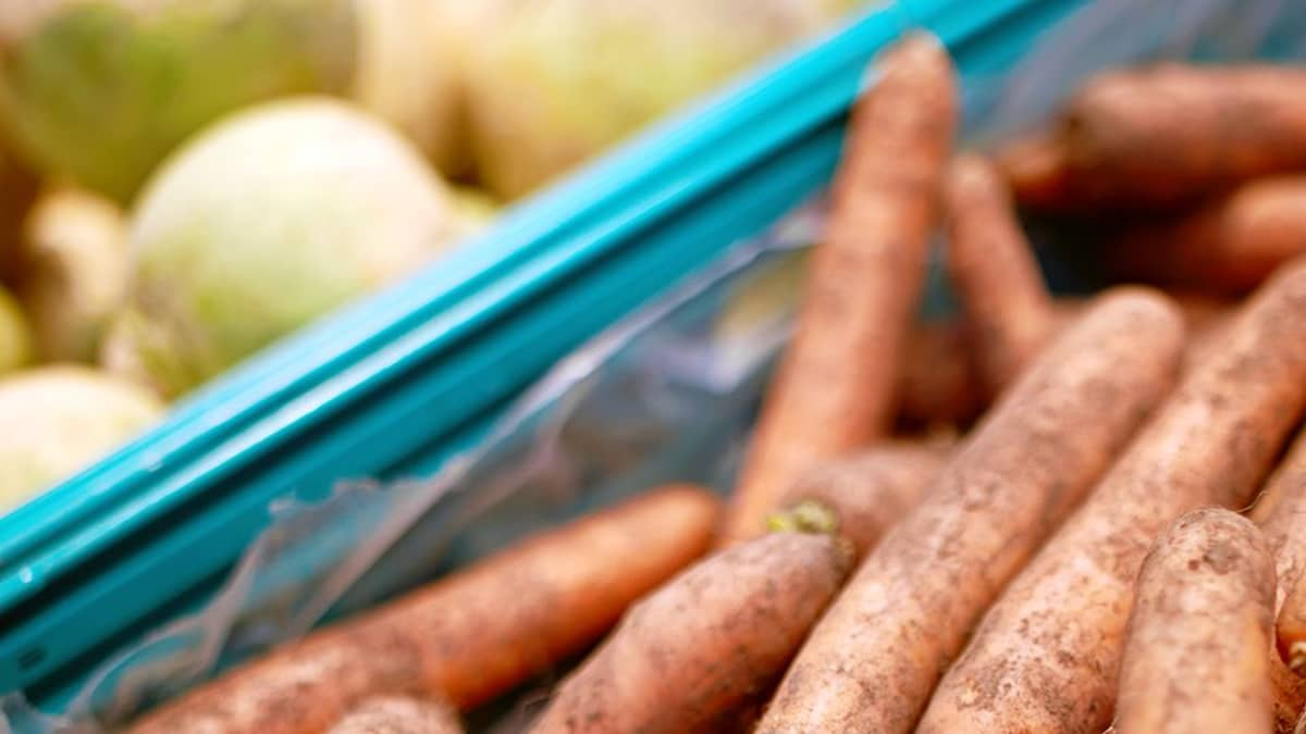 Porkkanoita kaupan vihannestiskillä.