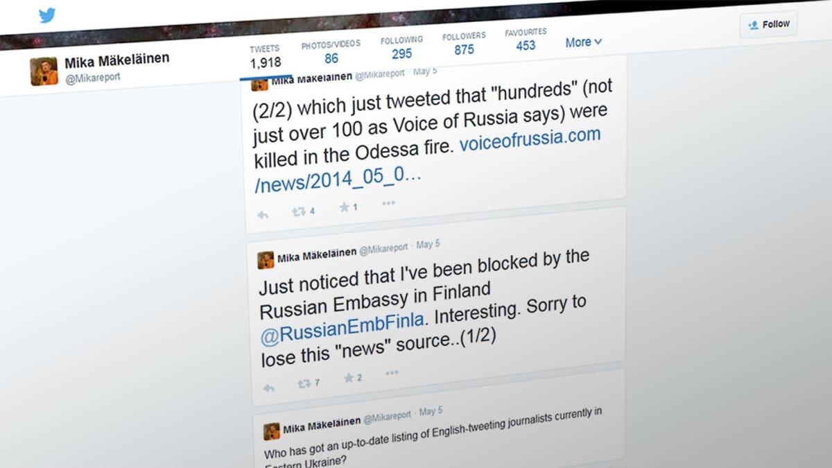 Kuvakaappaus Mika Mäkeläisen Twitter-sivusta.