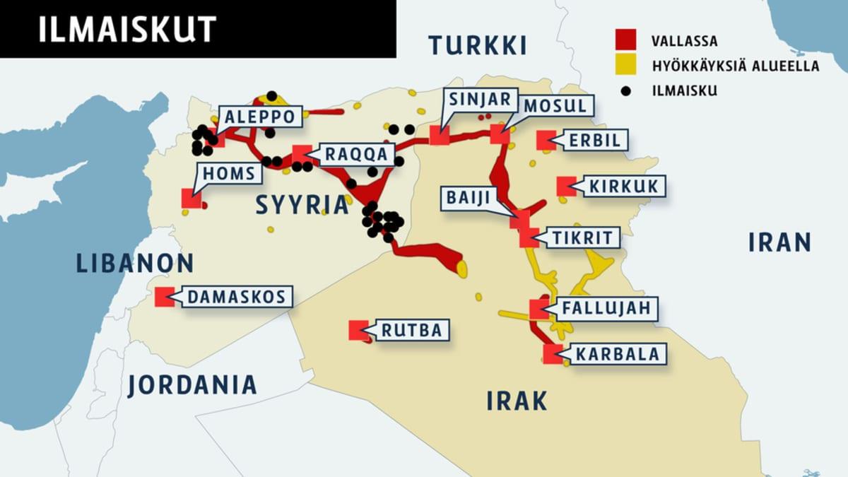 Irakin ja Syyrian kartta, johon merkattu Isisin kontrolloimat alueet, sekä alueet, joihin on hyökätty tai tehty ilmaisku.
