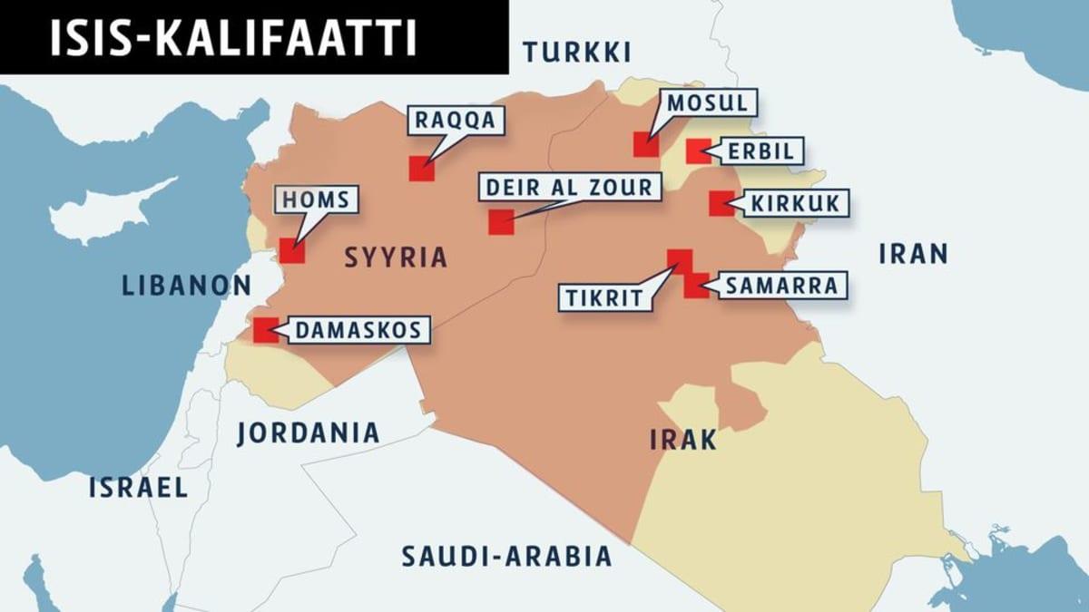 Kartta Isis-kalifaatista.