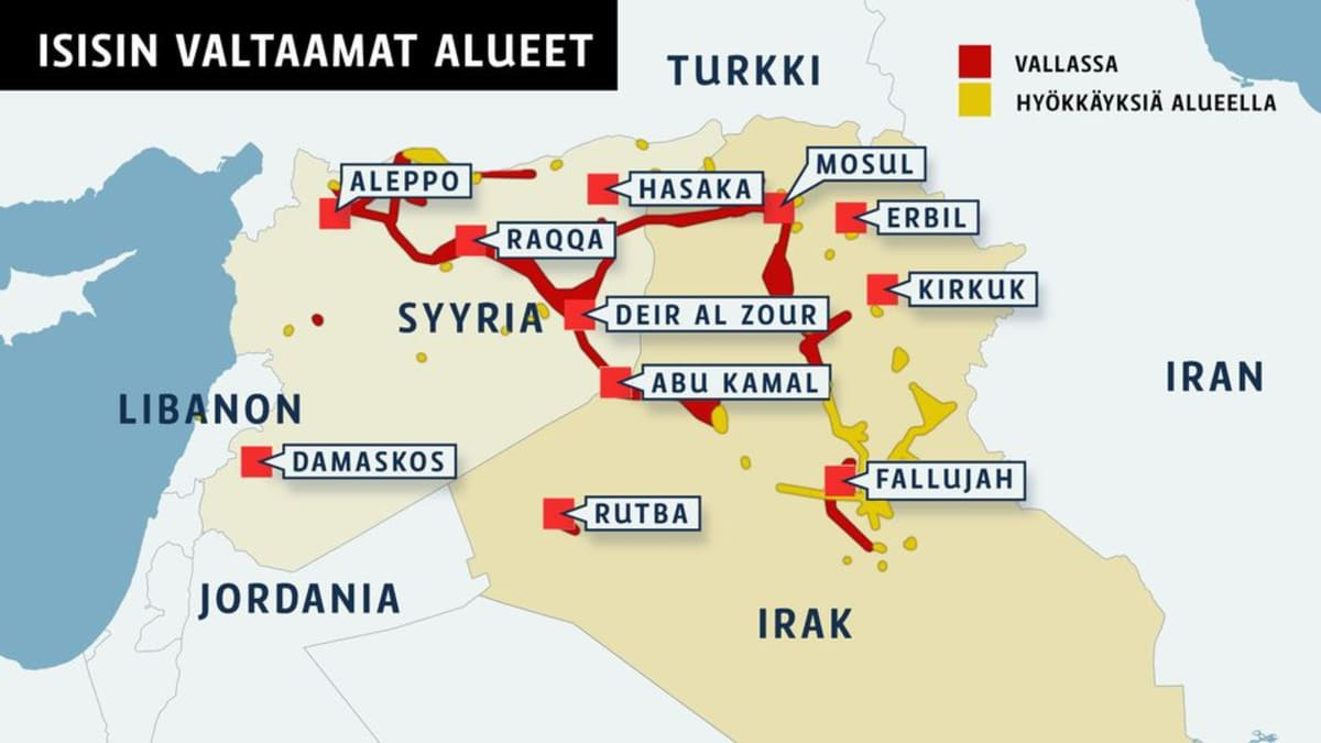 Kartta Isisin valtaamista alueista.