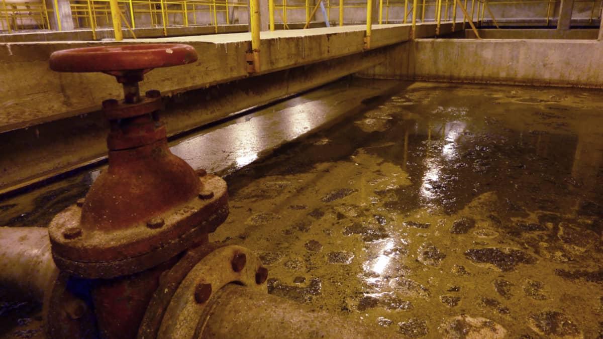 Jätevettä jätevedenpuhdistamolla