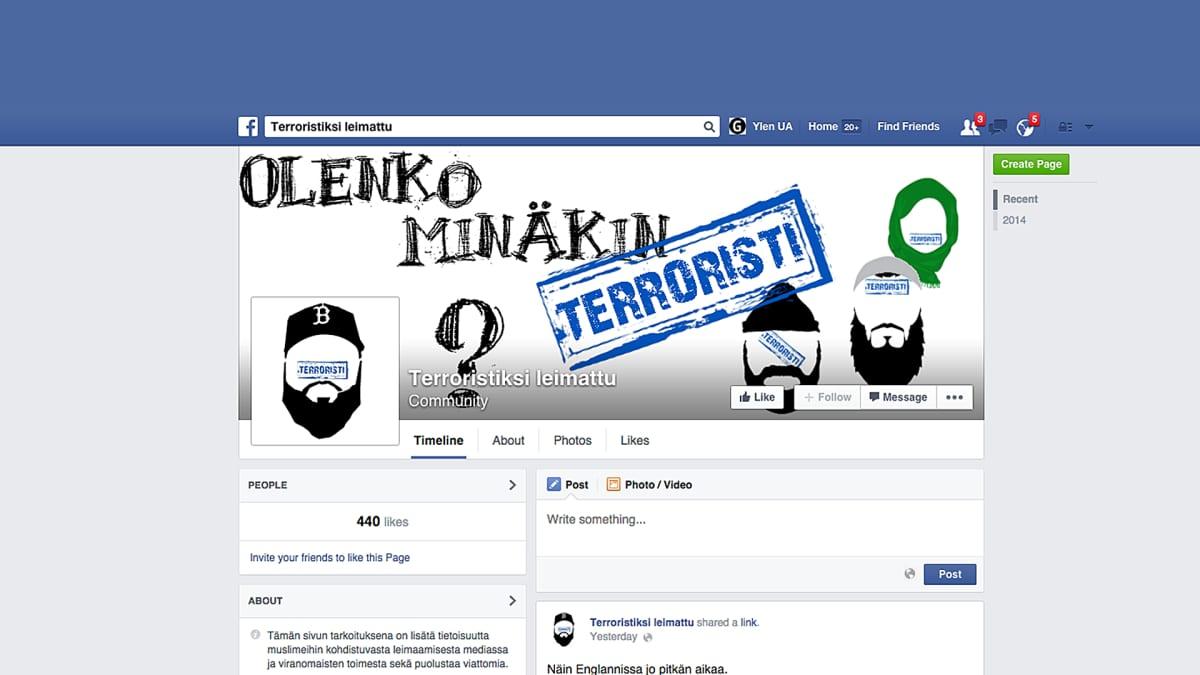 TERRORISTIKSI LEIMATTU Facebook sivusto