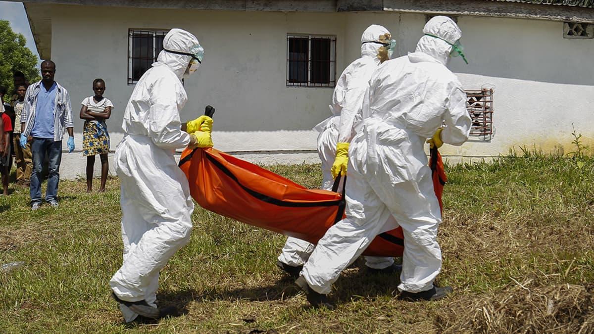 Valkoisiin suojapukuihin pukeutuneet henkilöt kantavat punaista ruumissäkkiä.