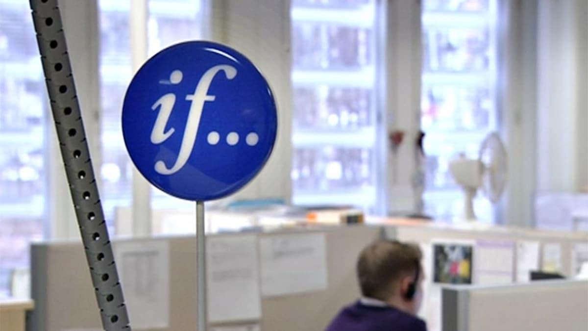 if-vakuutusyhtiön logo toimistokonttorissa.