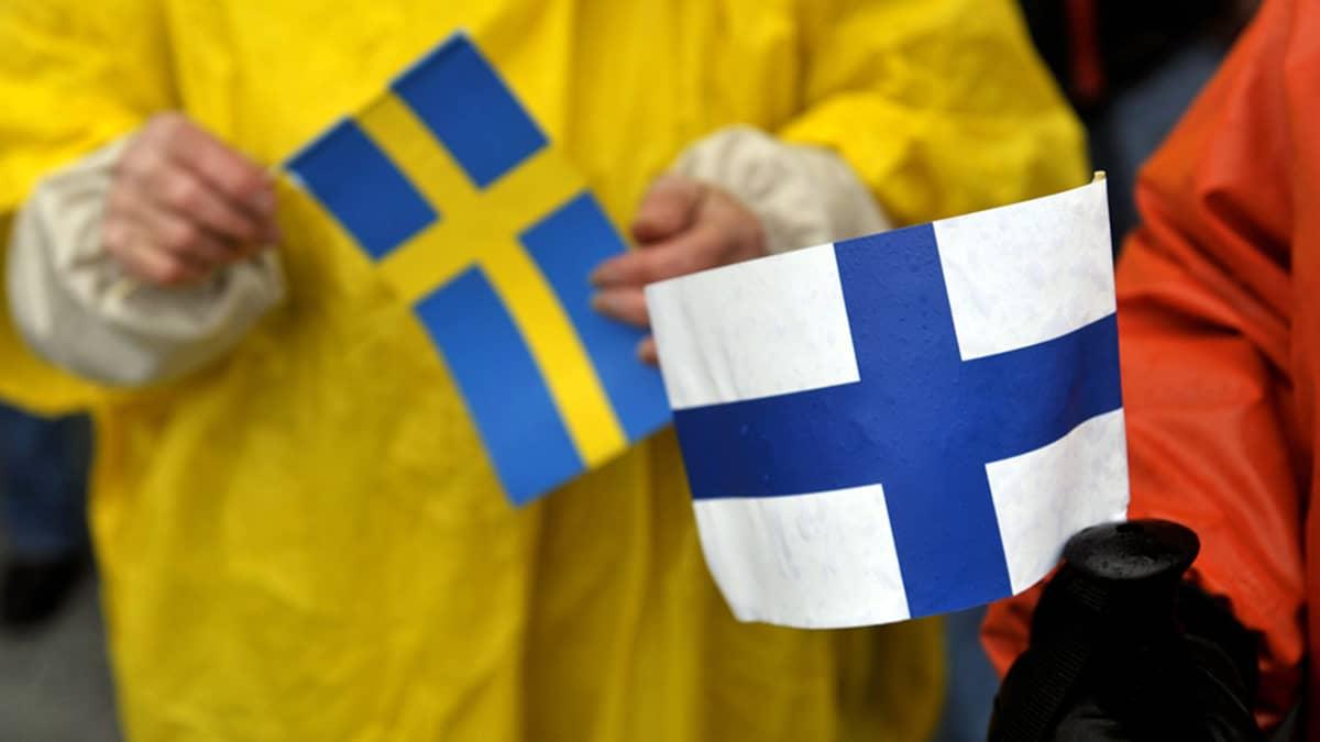 Kuvassa ovat Suomen ja Ruotsin liput.