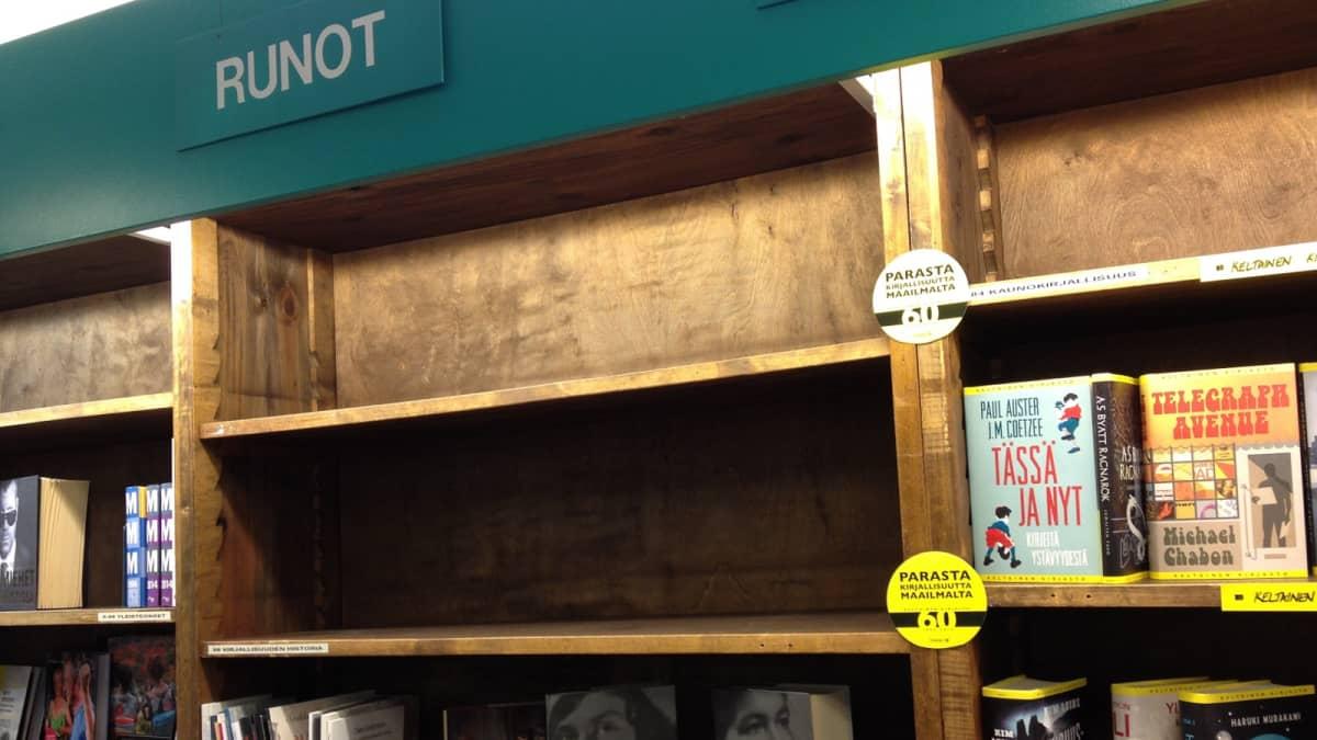 Räihän kirjakaupan ylimmät hyllyt ammottavat jo tyhjinä.