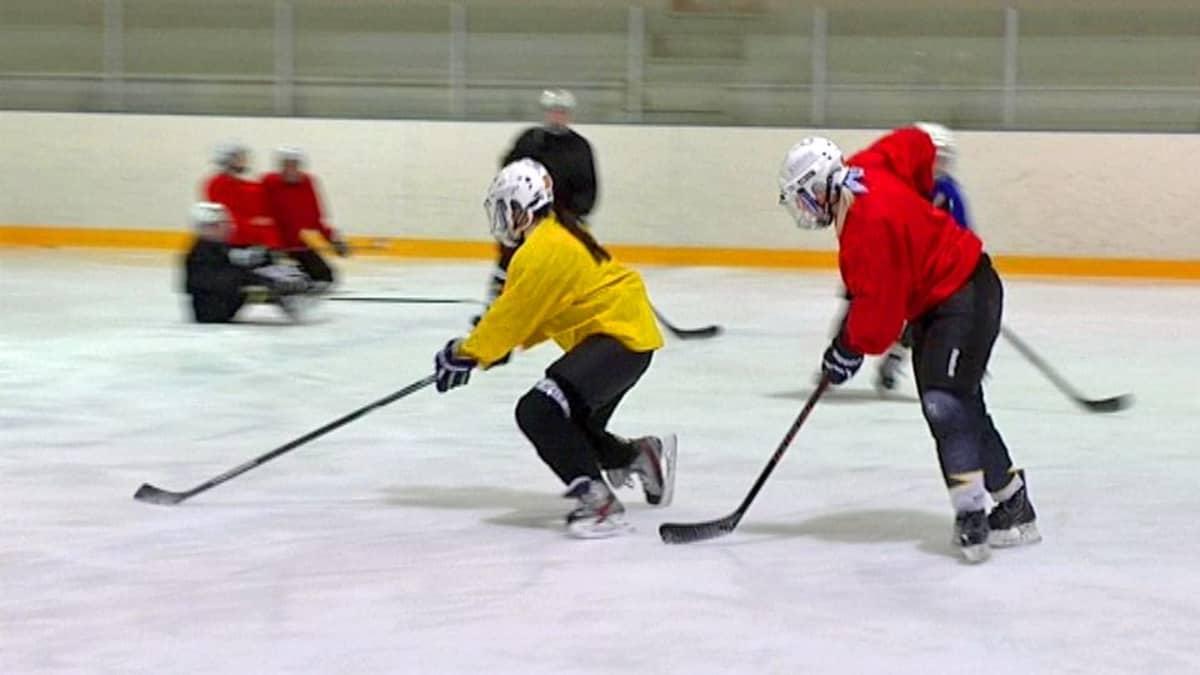 Kaksi jääkiekkoilijaa jääkiekon perässä