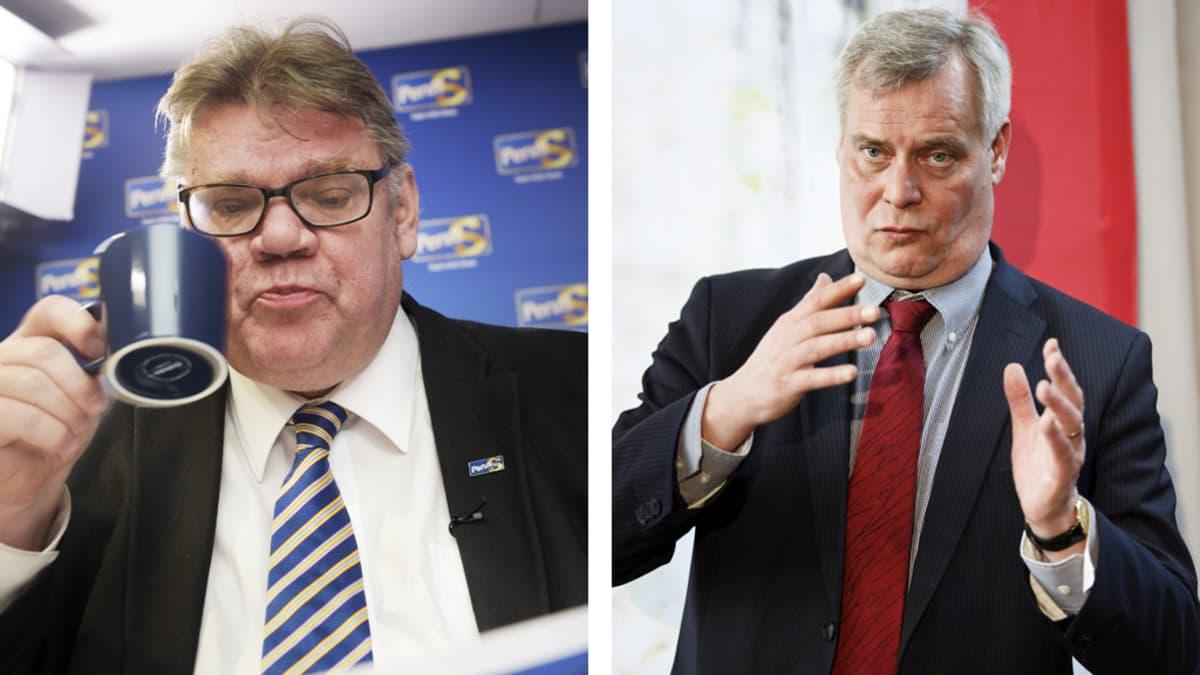 Yhdistelmäkuvassa Timo Soini juo kahvia ja Antti Rinne visioi käsillään.