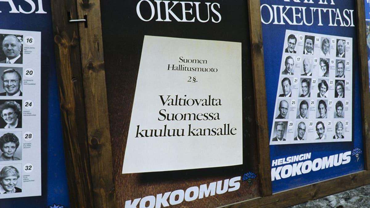 Kokoomuksen vaalijuliste eduskuntavaaleissa 1983.