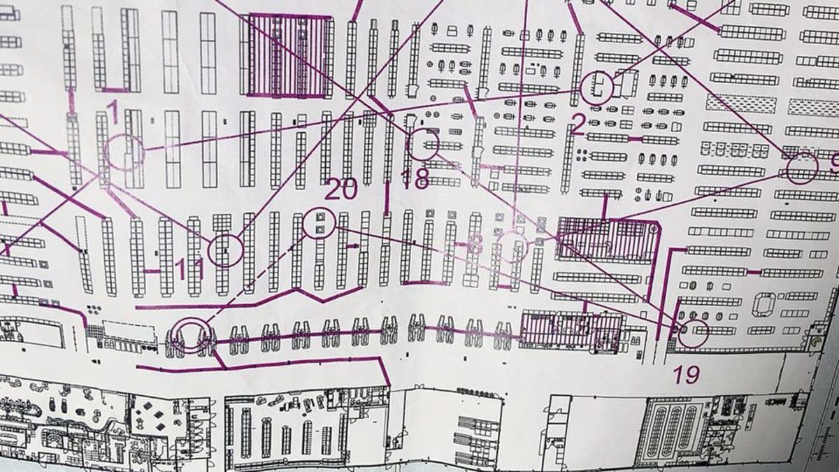 Kuvassa sisäsuunnistukseen tarkoitettu kartta marketista