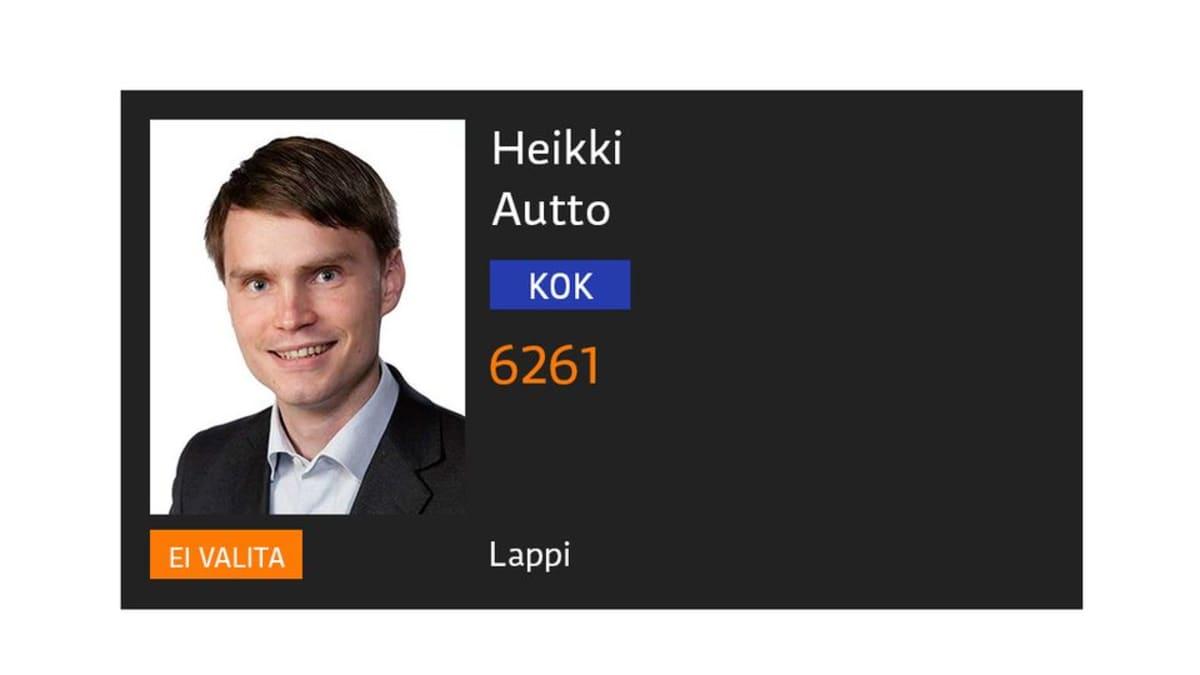 Kokoomuksen Heikki Auttoa ei valittu uudelleen eduskuntaan vaaleissa 2015.