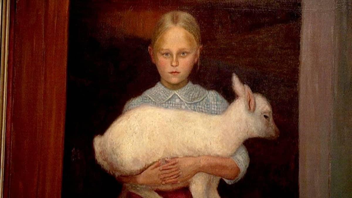 Hugo Simbergin taulu Lammastyttö