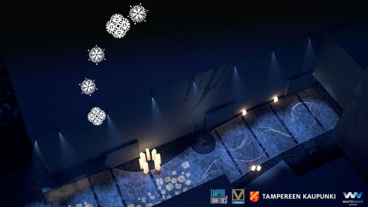 Lumihiutale-valoteos Tuomikirkonkadulla.
