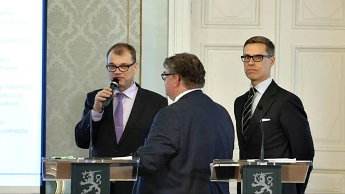 Juha Sipilä,Timo Soini ja Alexander Stubb.