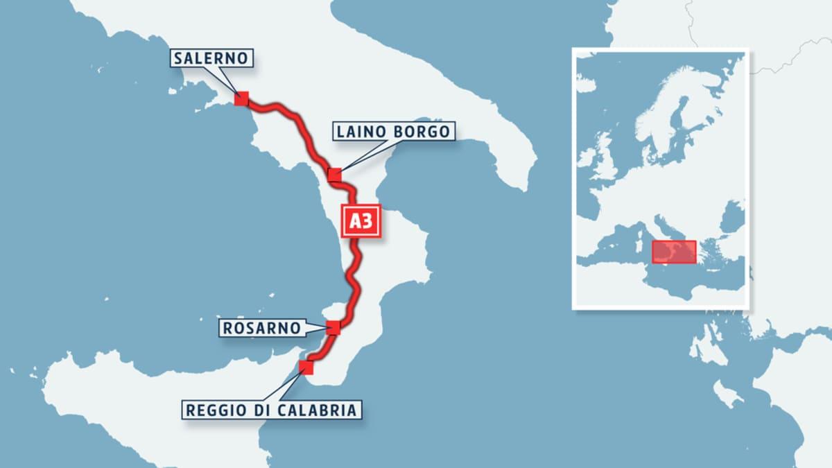 A3-tien linjaus Salernosta Reggio di Calabriaan.
