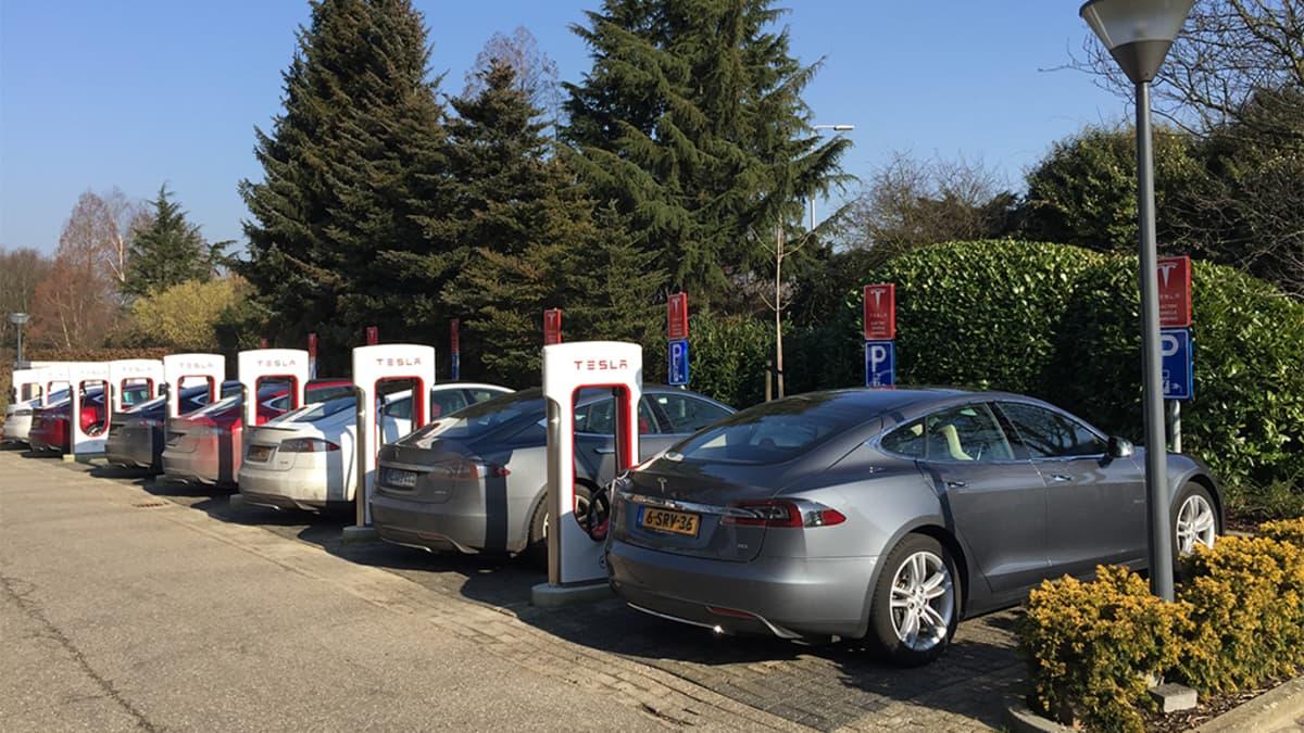 Tesla-sähköautoja latauspisteillä.
