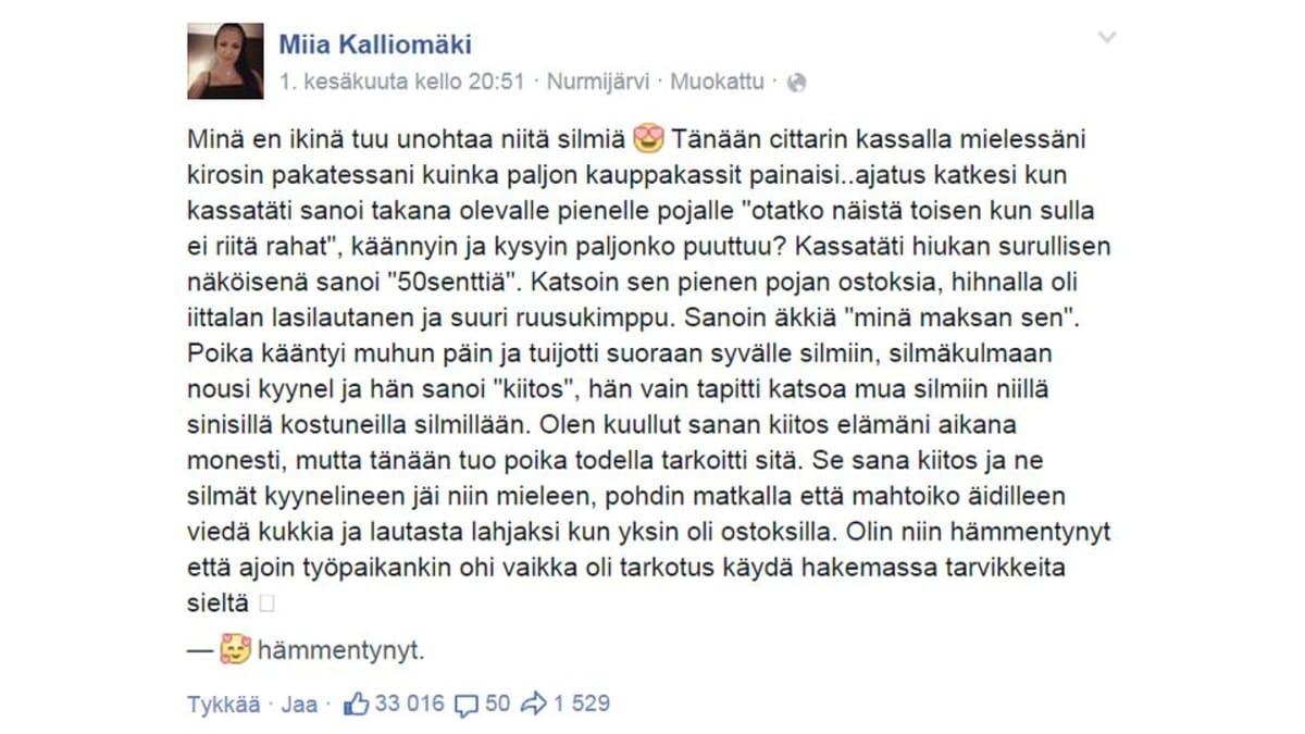 Miia Kalliomäki auttoi pientä poikaa kaupan kassajonossa ja teko noteerattiin facebookissa.