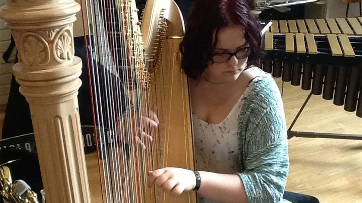 Kuvassa Roosa Pulakka soittaa harppua.