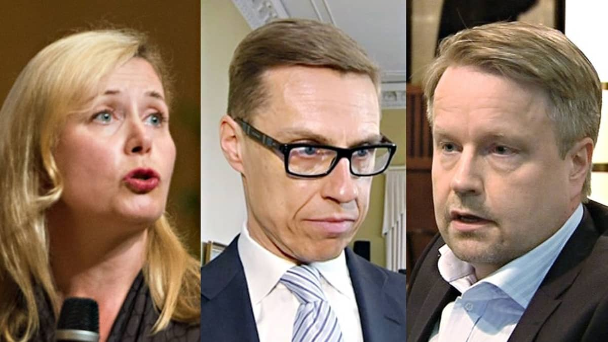 Leena Mörttinen, Alexander Stubb sekä Matti Apunen.