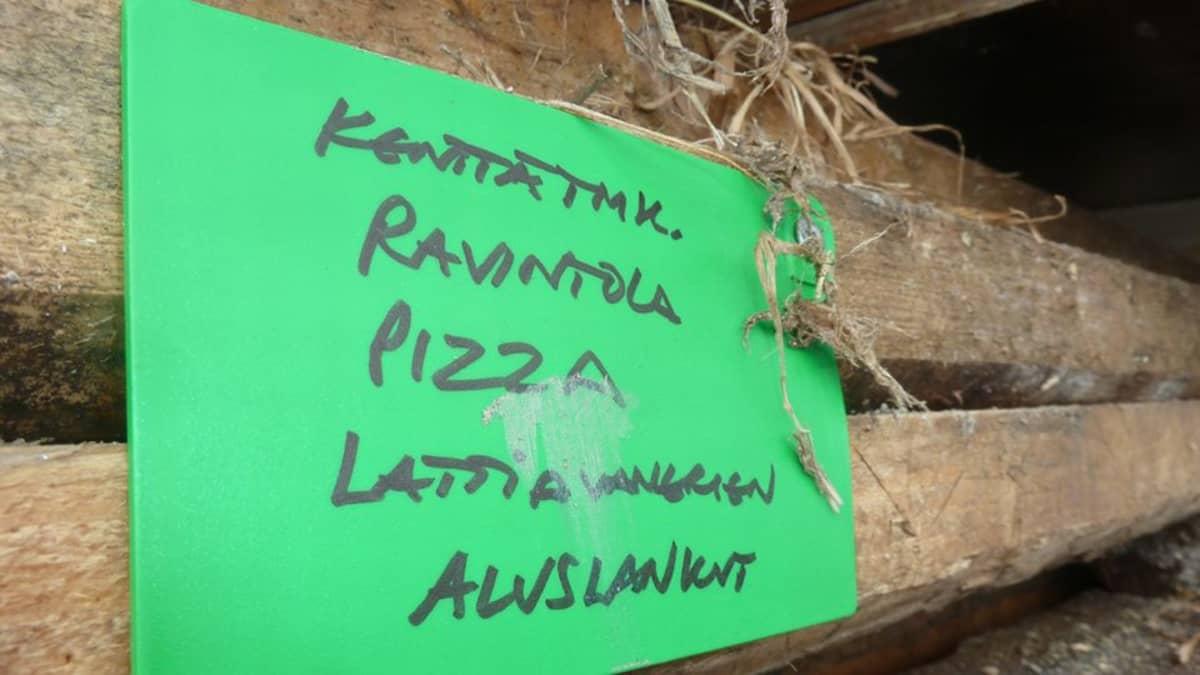 """Paperilappu, jossa teksti """"Kenttätmk., ravintola, pizza, lattialankut, aluslankut""""."""