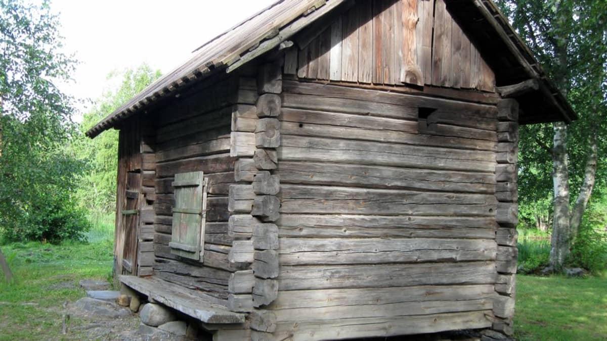 Harmaantunut vanha savusauna kesäisessä maisemassa