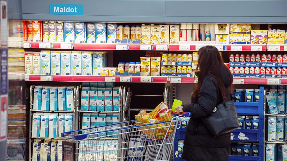 Nainen tutkii kaupan maitohyllyä.