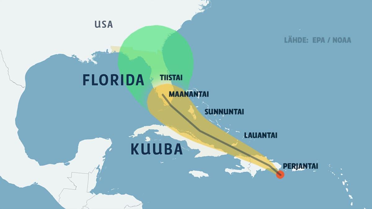 Erika-myrskyn eteneminen.