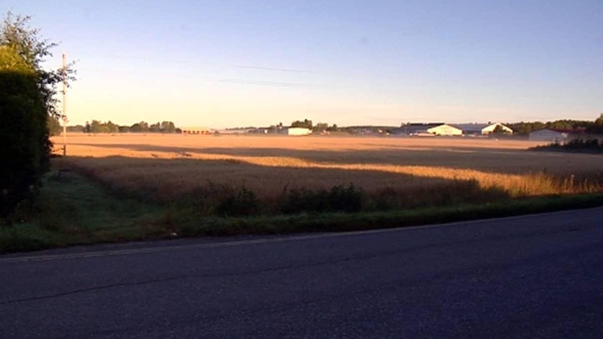 Tuleva valtatie 3 halkoo peltojen poikki Laihialla.
