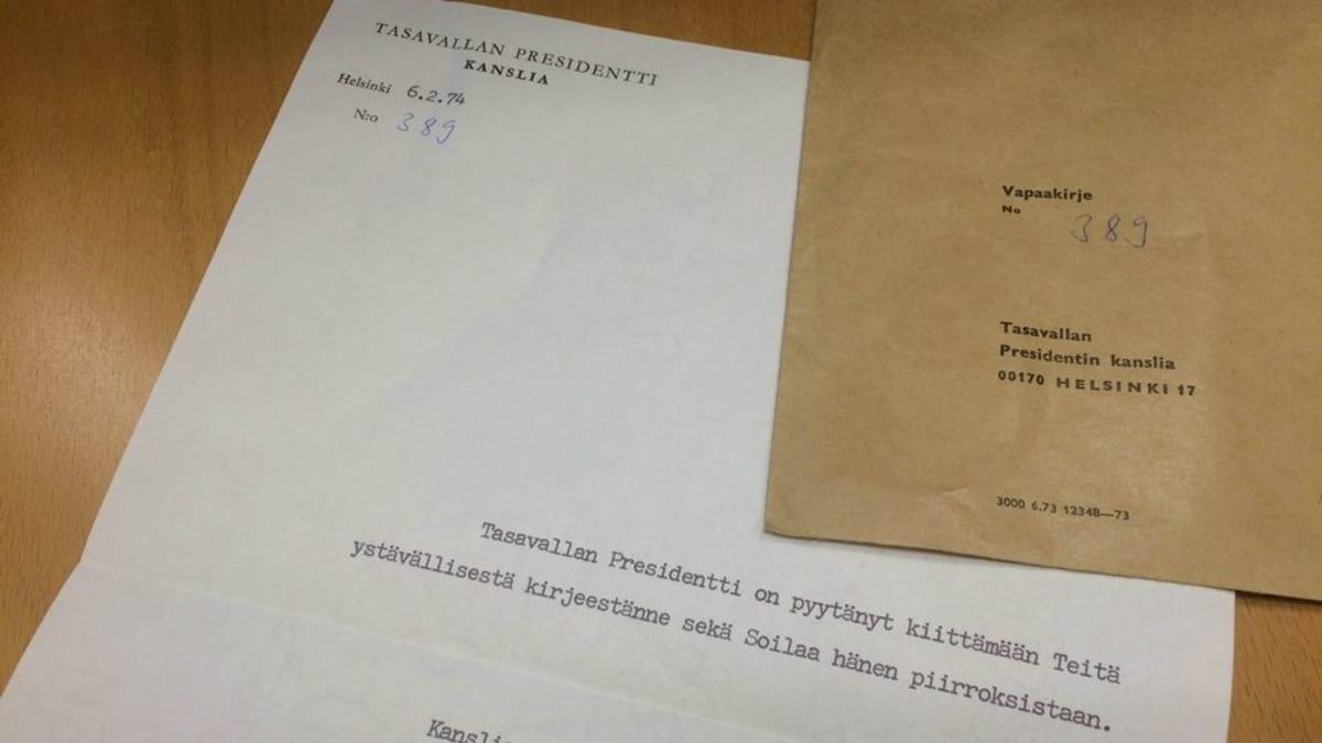 Urho Kekkosen lähettämä kirje vuodelta 1974