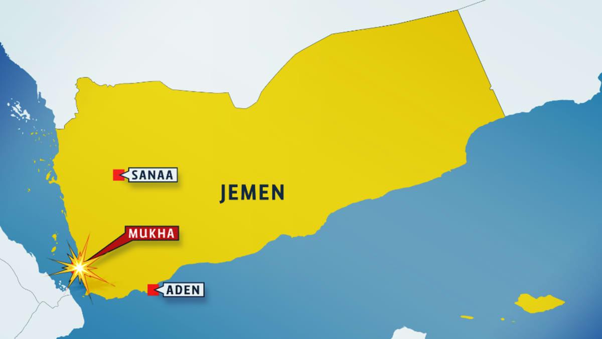Jemenin kartta, jossa kaupungit: Sanaa, Aden ja Mukha.